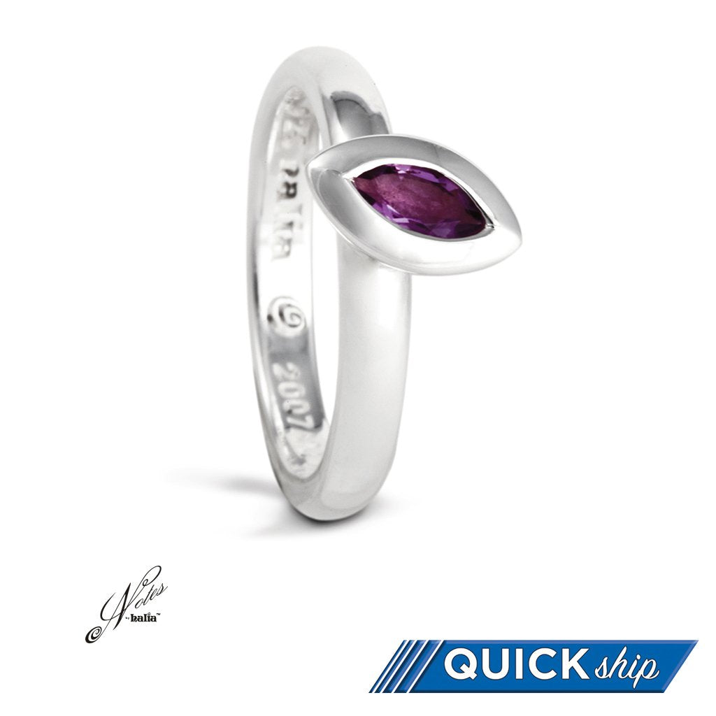 Leaf on the Wind Stacking Ring - Amethyst, Blue Topaz