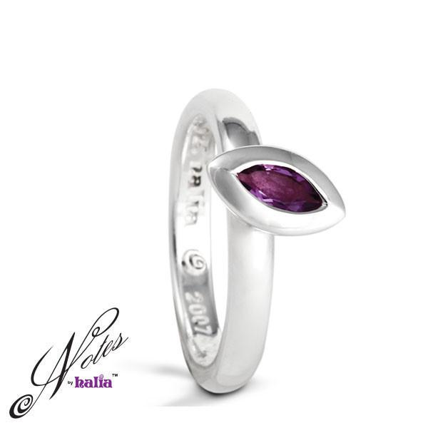 Amethyst Leaf on the Wind Stacking Ring Sterling Silver Notes by Halia