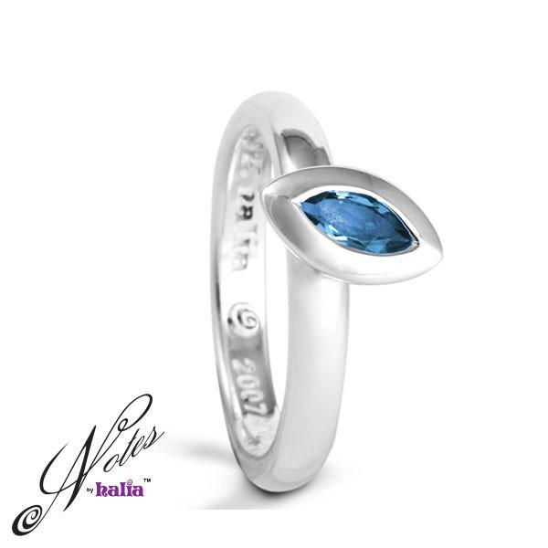 Blue Topaz Leaf on the Wind Stacking Ring Sterling Silver Notes by Halia