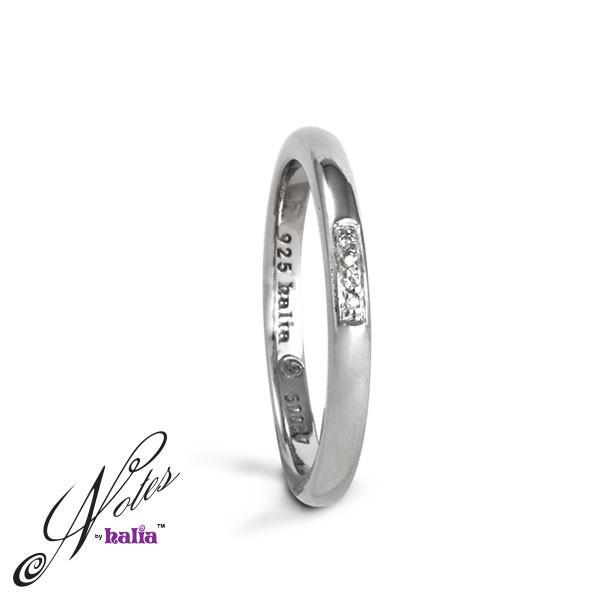 Centre of Attention Diamond Stacking Ring Sterling Silver Notes by Halia