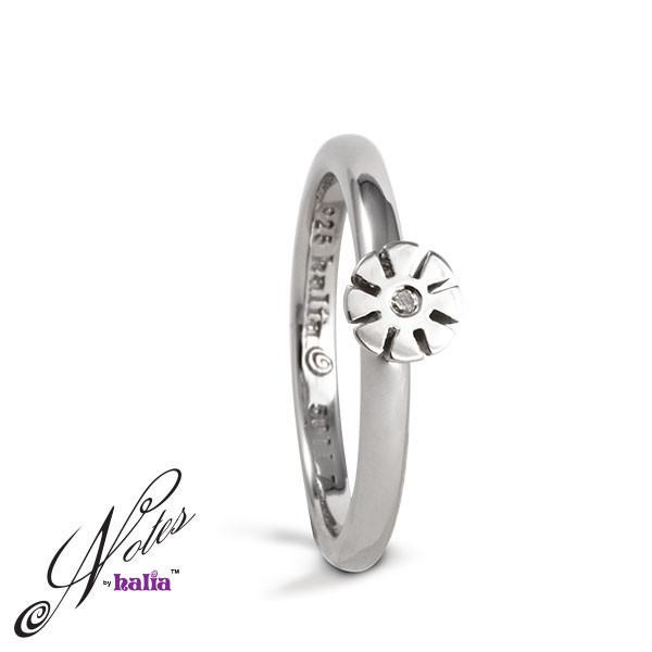 Frosted Flower Diamond Stacking Ring - Metalsmiths Sterling™ Canada