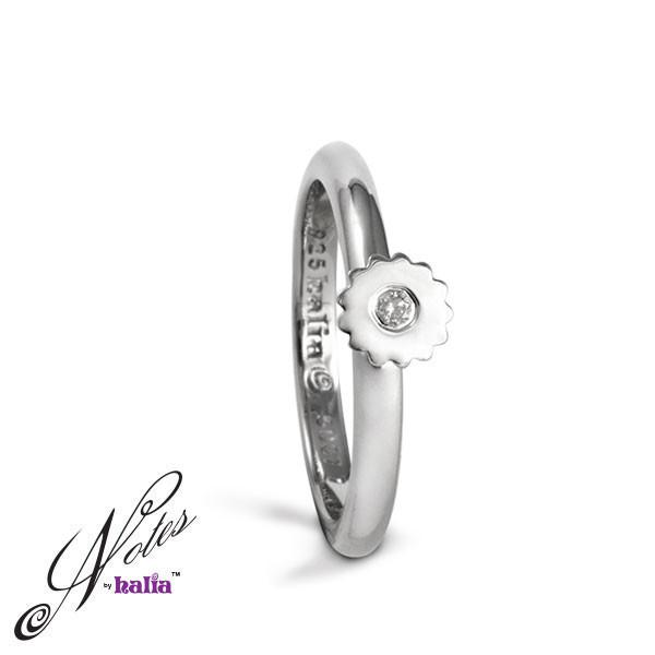 Diamond Startling Sunflower Stacking Ring Sterling Silver Notes by Halia