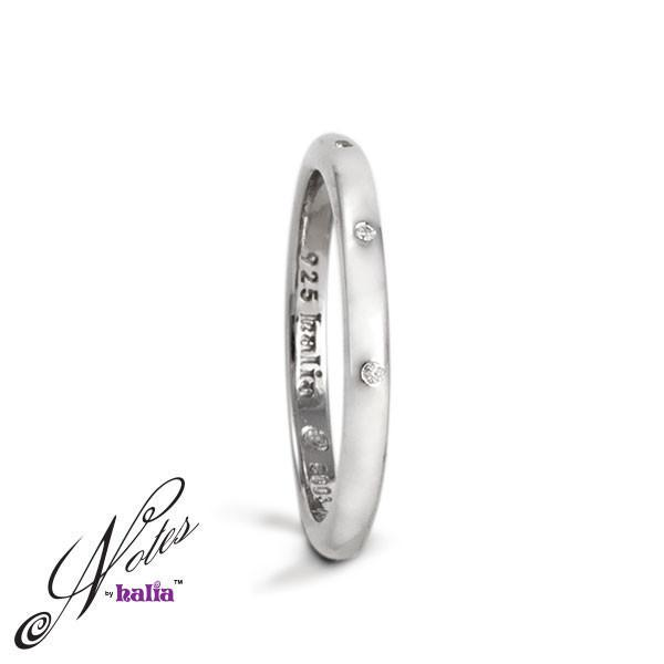 Diamond Quite Continental Stacking Ring Sterling Silver Notes by Halia