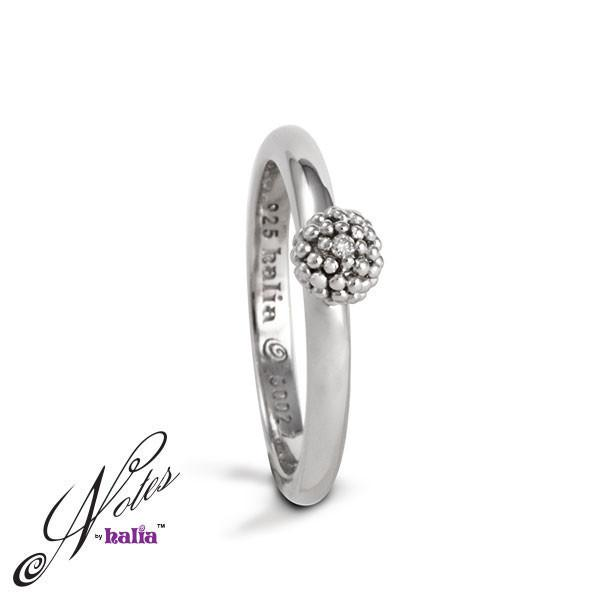 Diamond Charming Cluster Stacking Ring Sterling Silver Notes by Halia