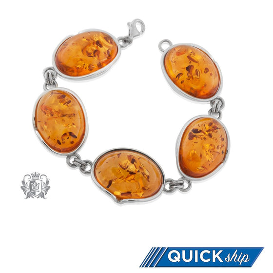 Large Freeform Wrapped Amber Bracelet -2