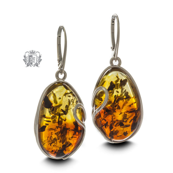 Freeform Wrapped Amber Earrings