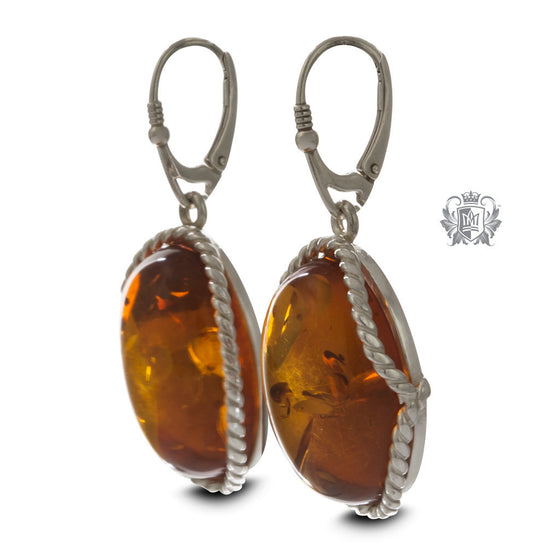 Cable Wrapped Sterling Silver Amber Earrings - side