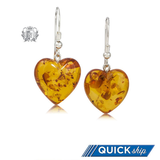 Amber Heart Hanger Sterling Silver Earrings