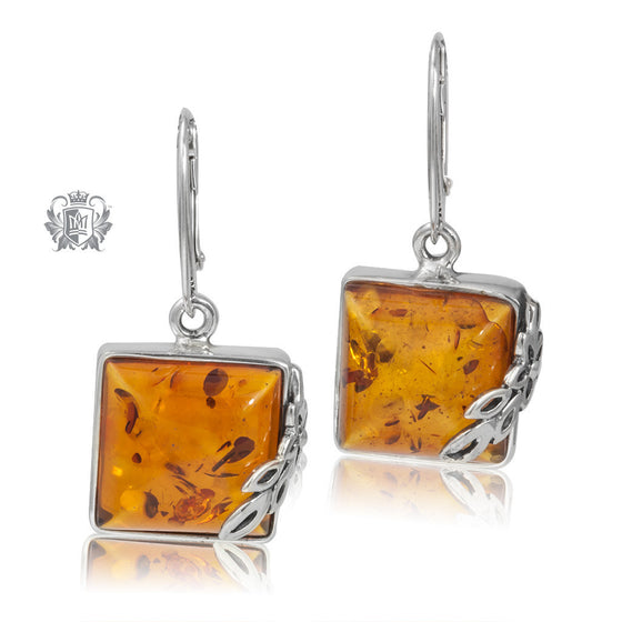 Sterling Silver Leafy Square Amber Dangling Earrings