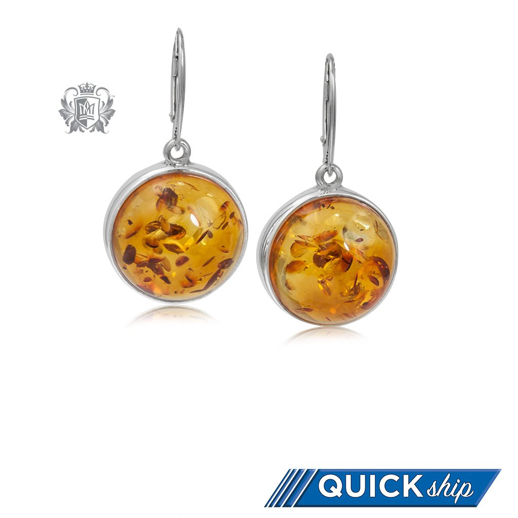 5b4b01da5 Round Amber Dangling Earrings - Metalsmiths Sterling™ US