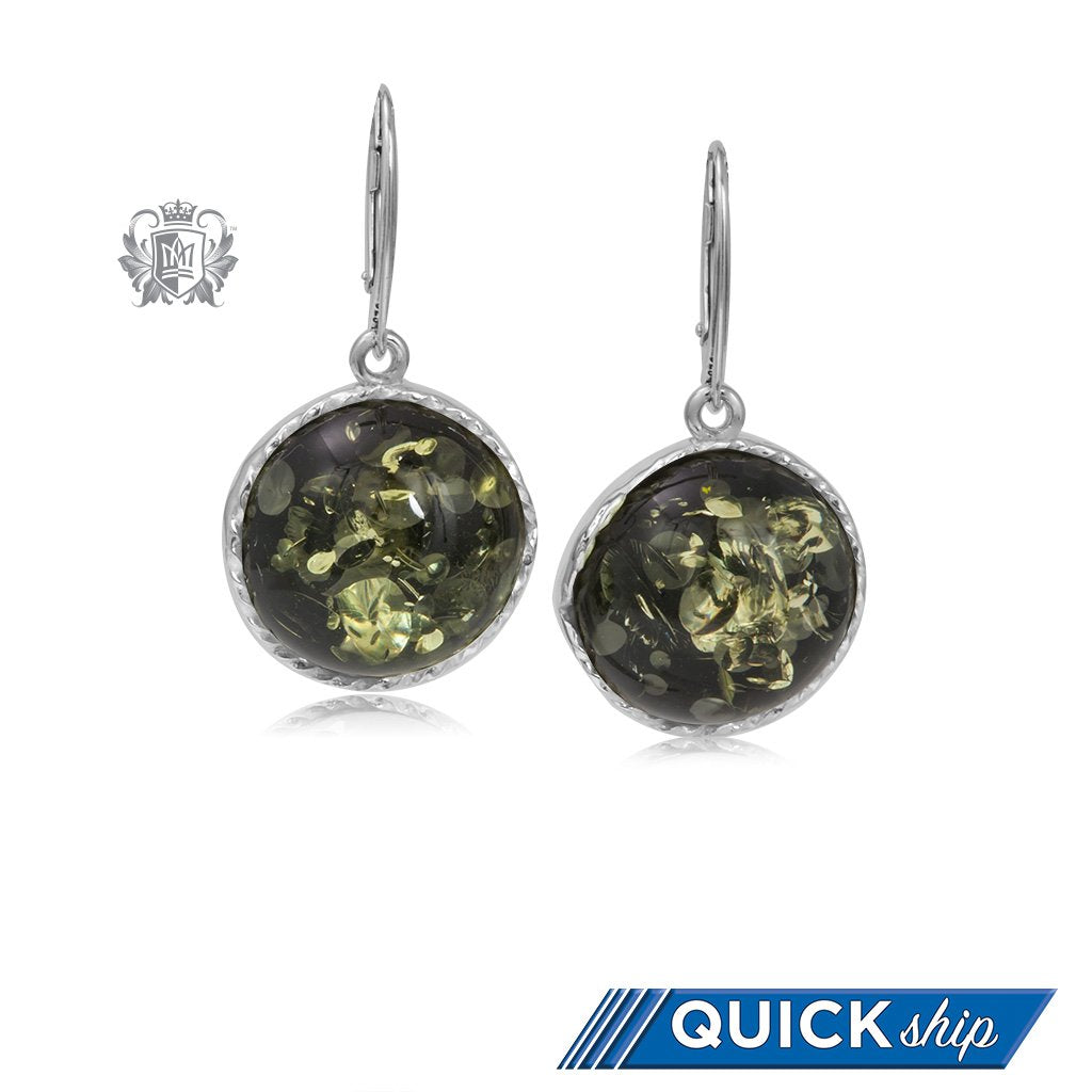 bdc823f38 ... Round Cable Wrapped Amber Dangling Earrings - Green Amber. QUICK SHIP