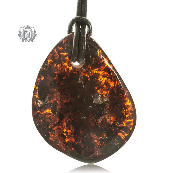 Amber and Leather Cord Freeform Necklace - Dark, Rounded