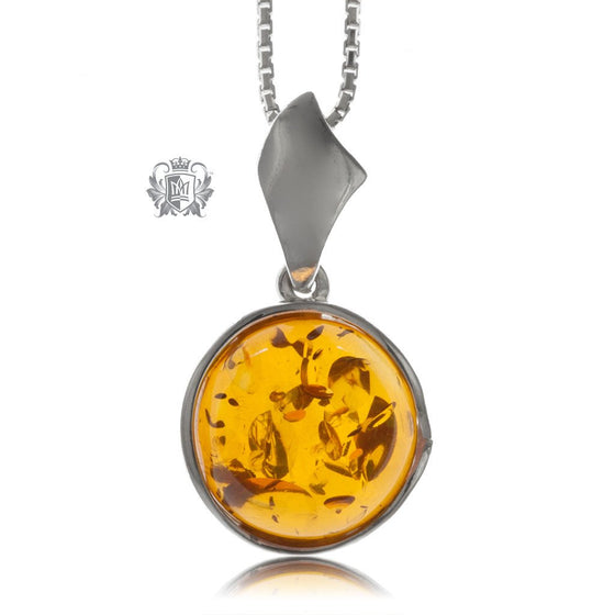 Round Wrapped Amber Pendant Sterling Silver