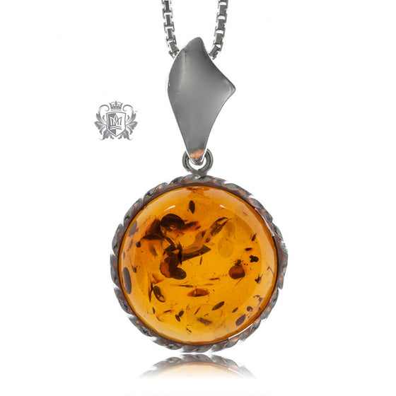 Round Cable Wrapped Amber Pendant Sterling Silver