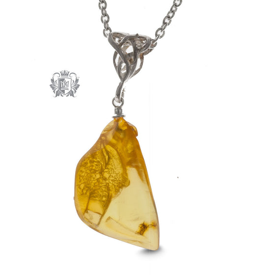 Freeform Amber Pendant - Yellow, Celtic