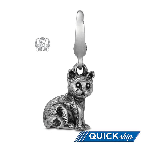 Quick Ship Sitting Kitty Cat Charm -  Charm