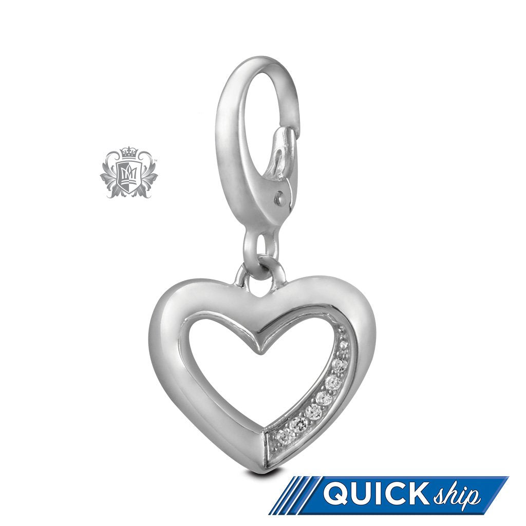 Quick Ship Cubic Heart Charm -  Charm