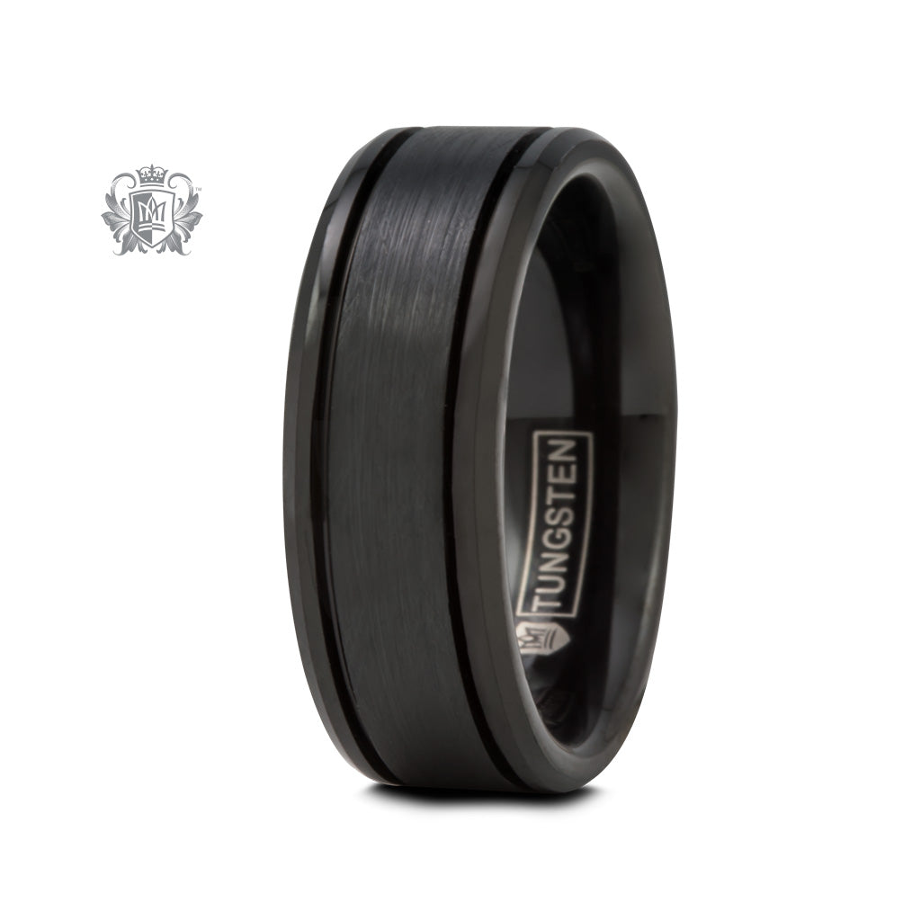 Black Tungsten Eased Edge Band with Brushed Texture