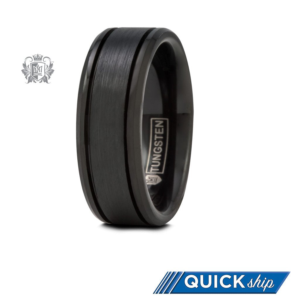 Black Tungsten Eased Edge Band with Brushed Texture Quick Ship