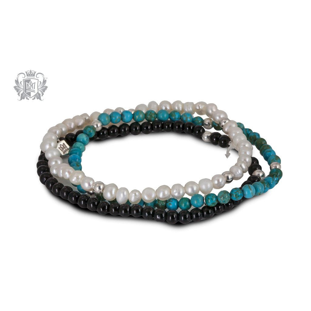 White Pearl, Turquoise & Black Onyx  Stackable Friendship Bracelets Sterling Silver
