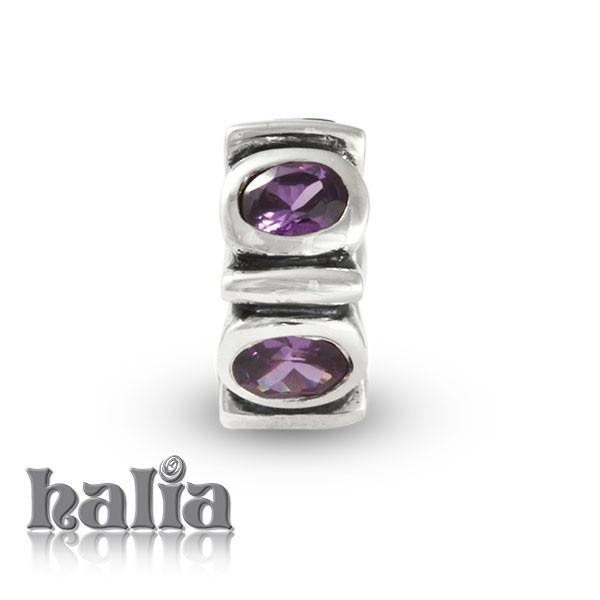 February Birthstone -  Sterling Silver Birthstone Bead