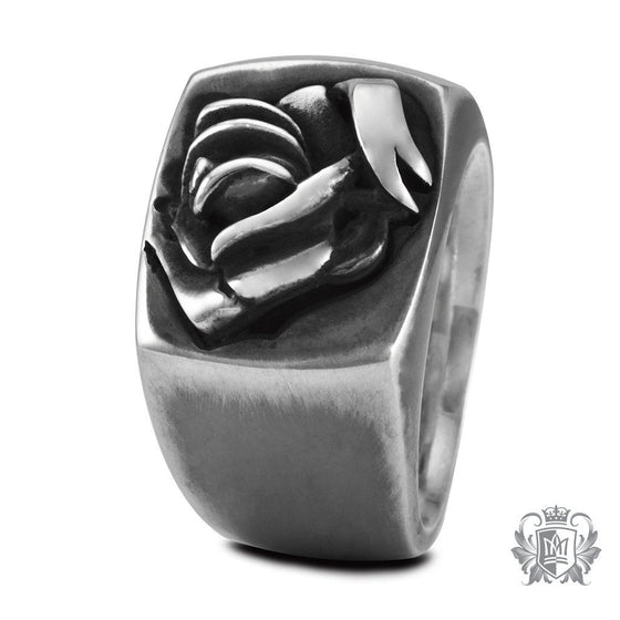 Metalsmiths Sterling Silver Tattoo Ribbon Rose Signet Ring - side