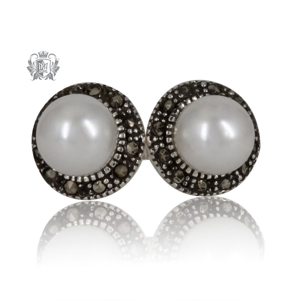 Marcasite Pearl Studs Metalsmiths Sterling Silver
