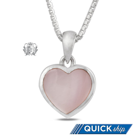 Large Pink Mother of Pearl Heart Pendant - Quick Ship