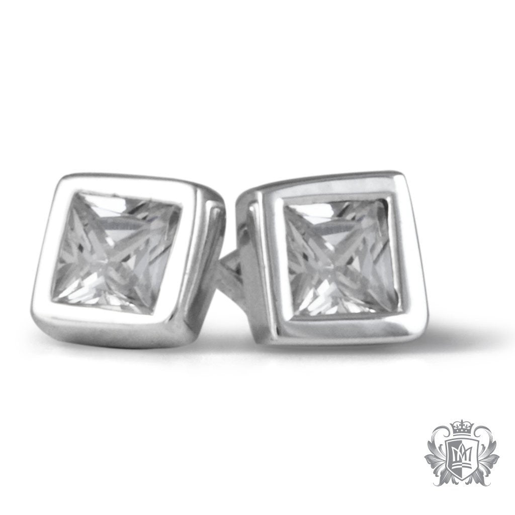 Metalsmiths Sterling Silver Square Cubic Bezel Set Stud Earrings