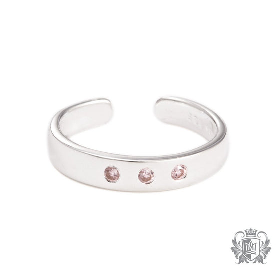 Metalsmiths Sterling Silver Triple Cubic Toe Ring - Pink