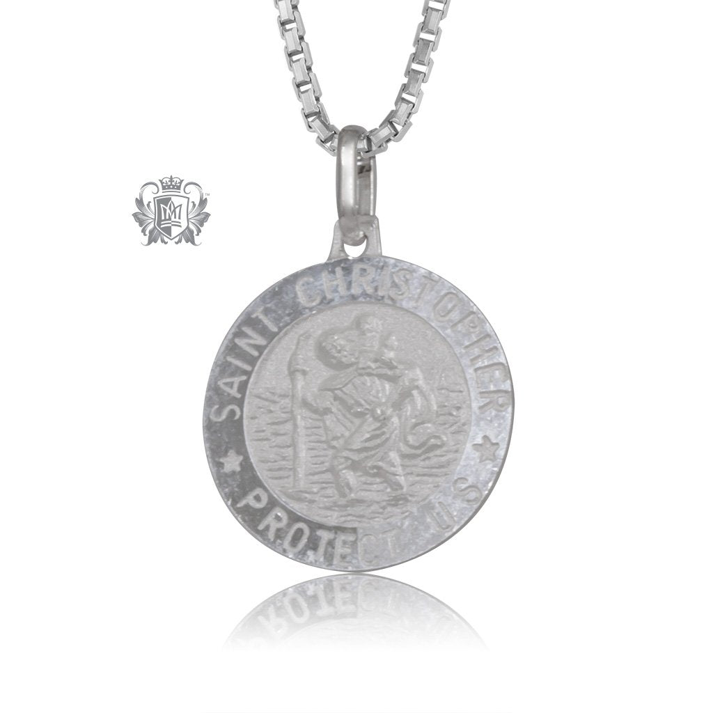 medallion medal traveler saint product christopher round stainless protector steel