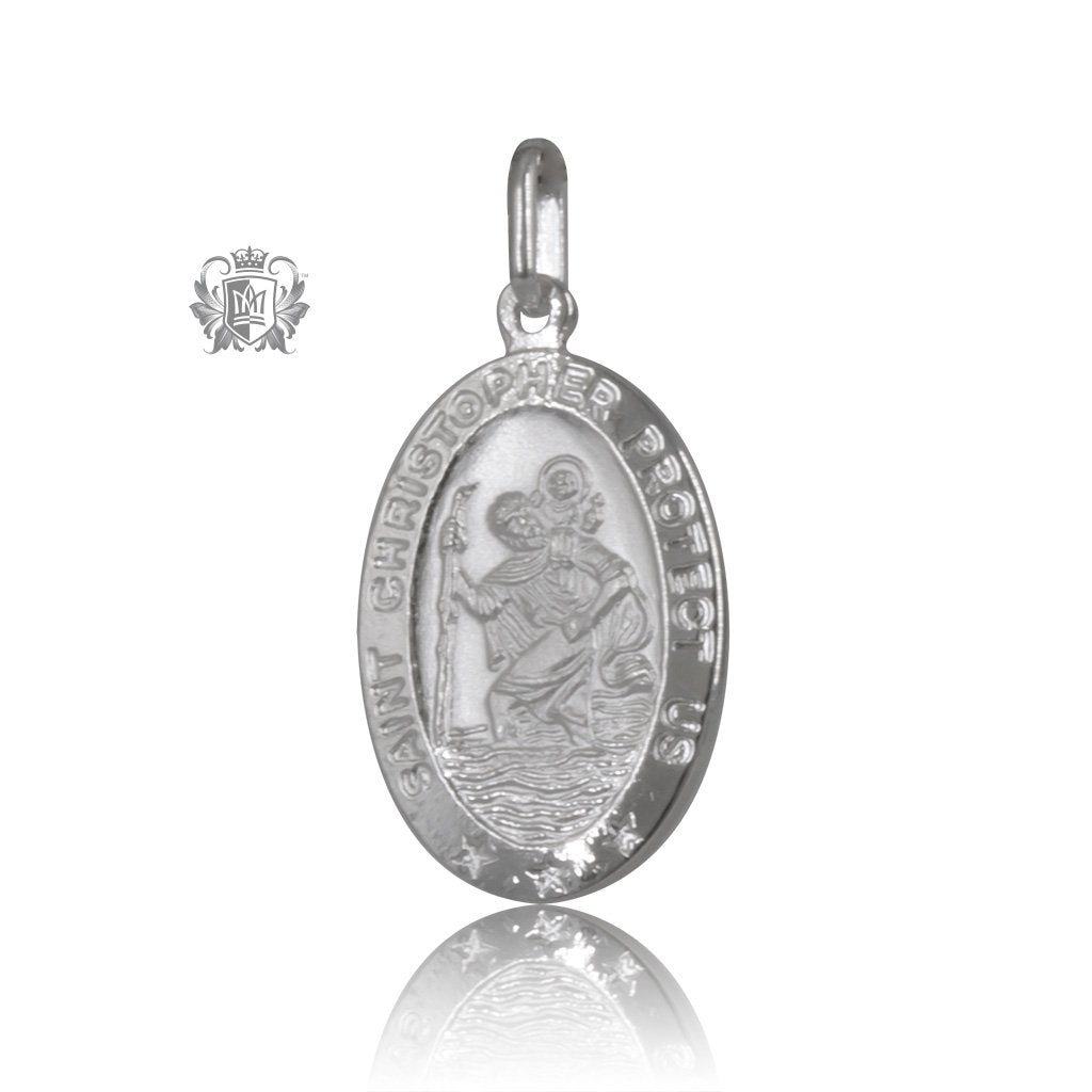 oval christopher chain with saint pendant item medallion