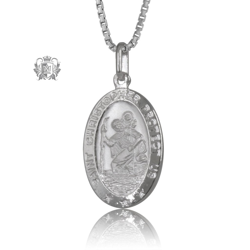 Oval Saint Christopher Medallion with Chain (Not Included)