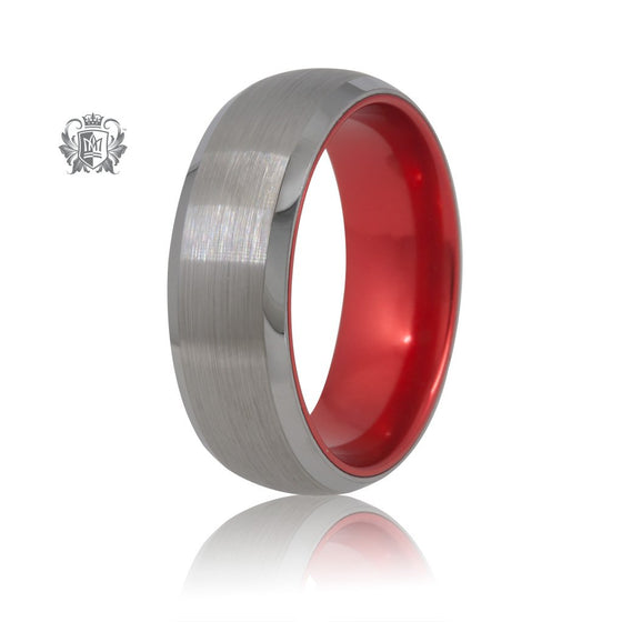 Grey/Red Tungsten Bright Inside Band Metalsmiths Sterling