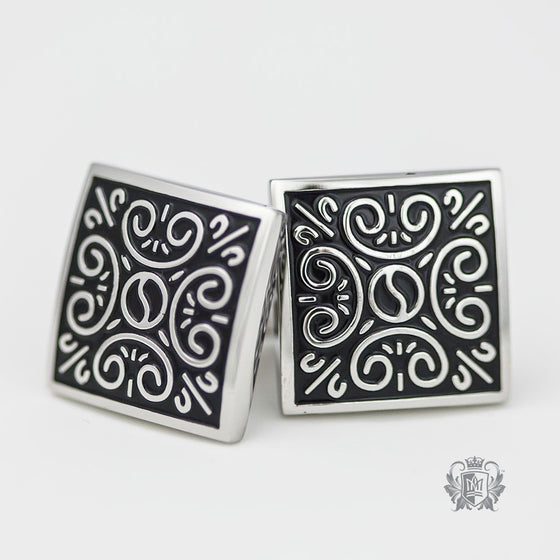Oxidized Stainless Steel Patterned Cufflinks -  Cufflinks - 1