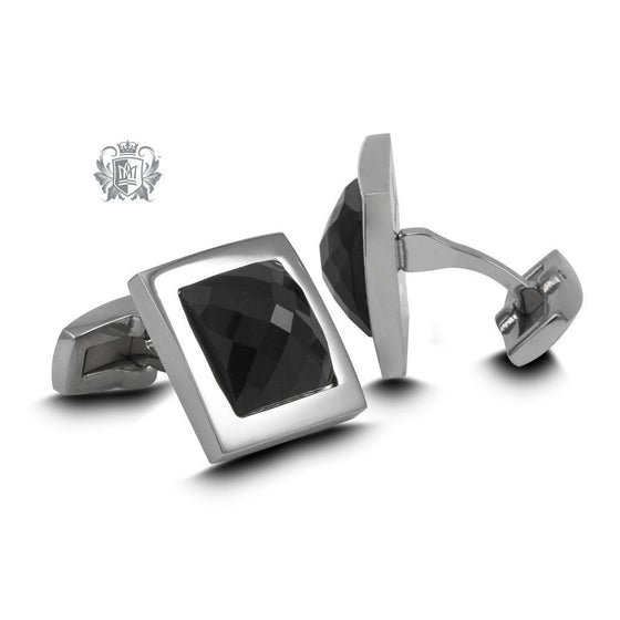 Stainless Steel Black Onyx Cufflinks -  Cufflinks