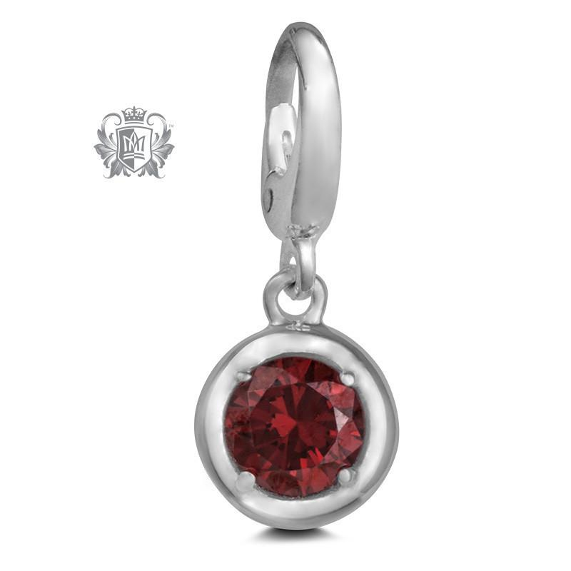 Birthstone Charm - 12 Colours Available - January/Garnet CZ Charm - 2