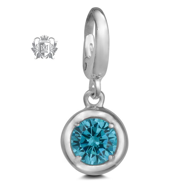 Birthstone Charm - 12 Colours Available - March/Aquamarine CZ Charm - 4