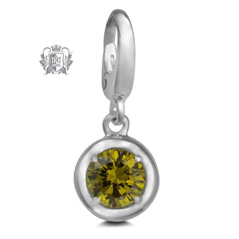 Birthstone Charm - 12 Colours Available - August/Peridot CZ Charm - 9