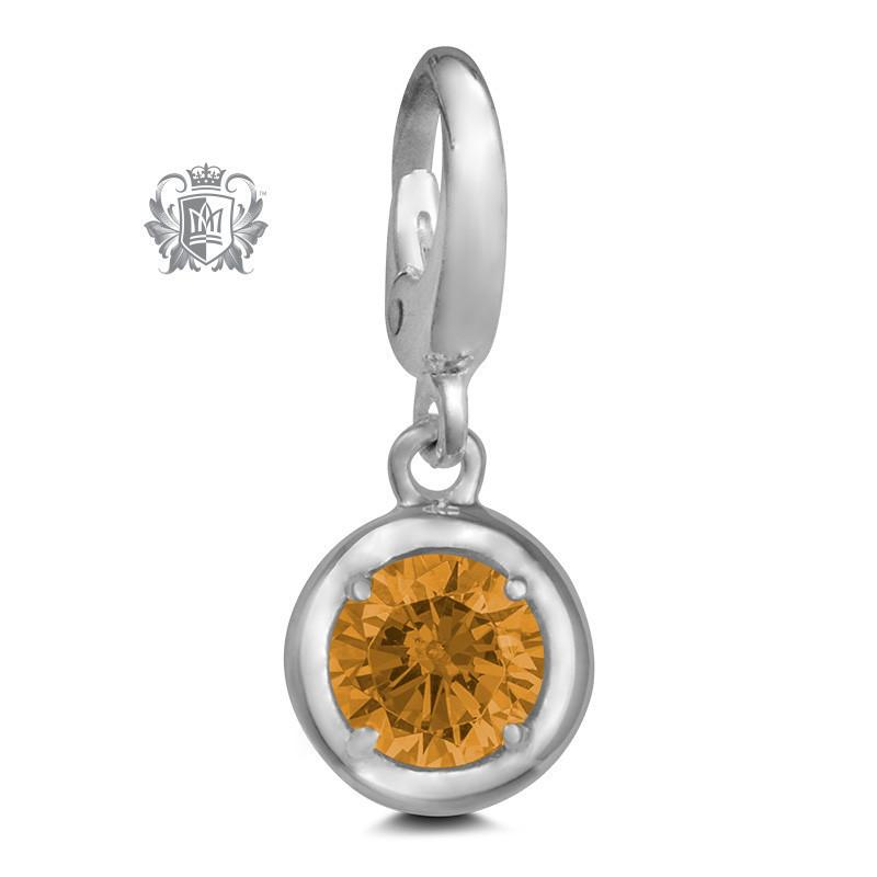 Birthstone Charm - 12 Colours Available - November/Citrine CZ Charm - 12