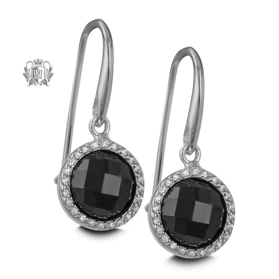Checker Cut Black Cubic Hanger Earrings - Metalsmiths Sterling™ Canada