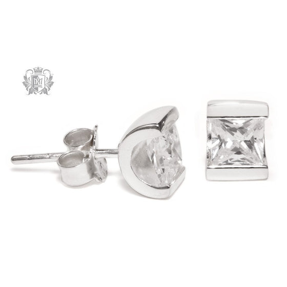 Channel Set Cubic Stud Earrings -  Gemstone Earrings