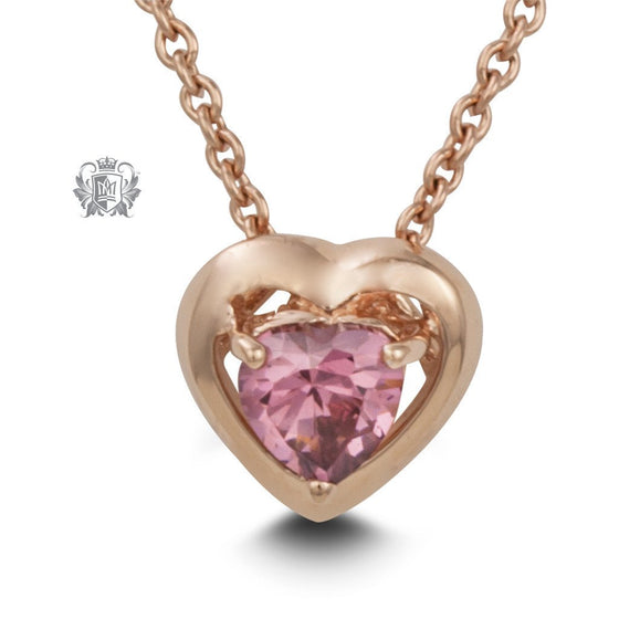 Rose Gold Dipped Pink Heart Necklace -  Gemstone Pendants