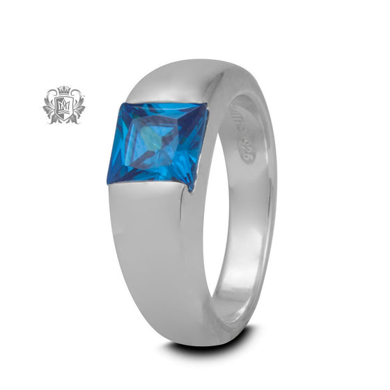 Square Channel Set Ring - Blue Cubic, Size 7 -  Gemstone RIngs