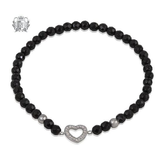 Black Onyx Heart Friendship Bracelet Metalsmiths Sterling Silver