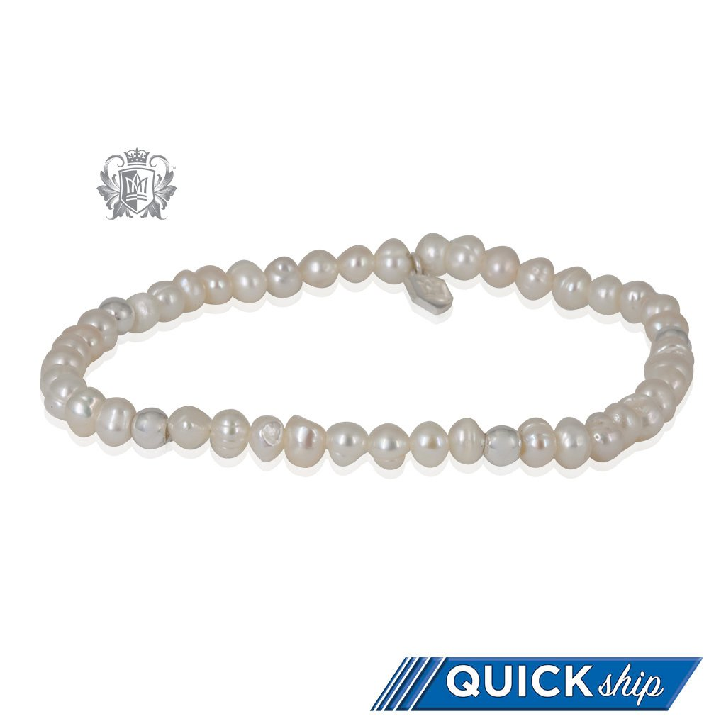 White Pearl Stackable Friendship Bracelet Sterling Silver Quick Ship