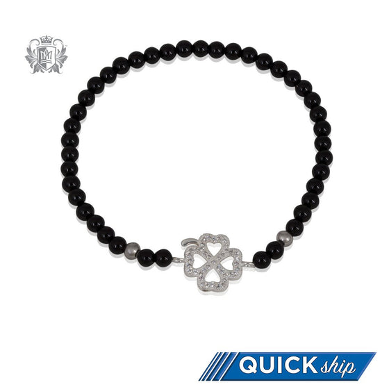 Lucky Clover Friendship Bracelet Black Onyx Sterling Silver - Quick Ship