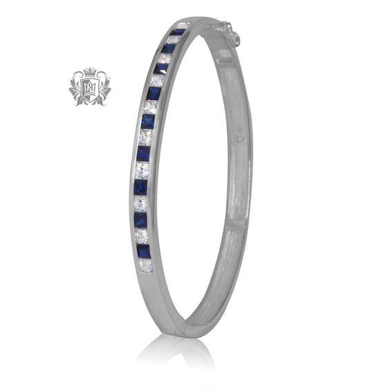 Blue Wide Eternity Bangle - Metalsmiths Sterling™ Canada
