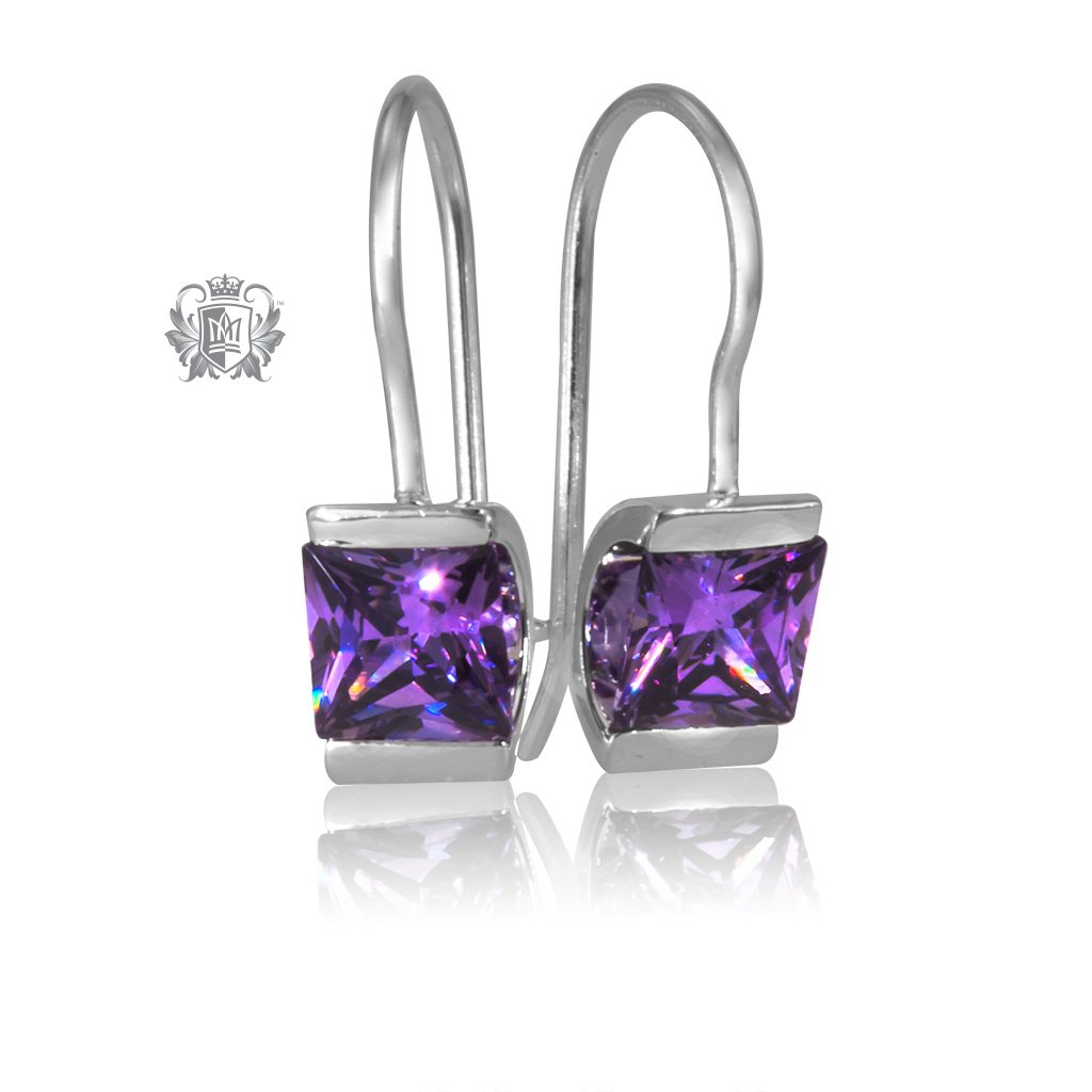 Amethyst Cubic Channel Set Hanger Earrings Sterling Silver