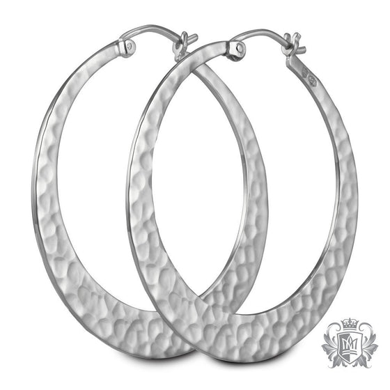 Metalsmiths Sterling Silver Hammered Round Tapered Hoop Earrings